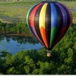 balloon over forest